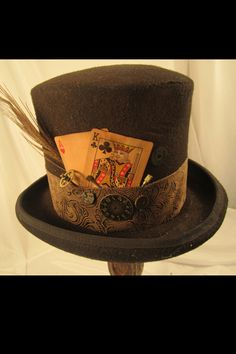 Steampunk Men's Brown Top Hat - With Feather, Playing Cards  Clock Parts