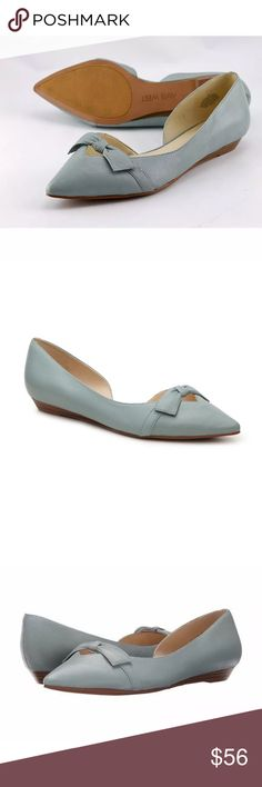 Nine West dusty blue bow flip on flat shoes Brand new without box. Sizes available: 6.5, 7.5 & 8.5. I also have these available in size 8 in the nude color. These are genuine leather and gorgeous classic flats. Nine West dusty blue bow flip on flat shoes. Nine West Shoes Flats & Loafers