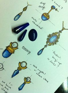 Some lapis and yellow gold designs being worked on here today!#timothyroe #bespoke #handdrawnsketches #jewellerydesign