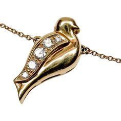 18k Tiffany Diamond Bird Pendant with 18k Hallmarked Tiffany Chain