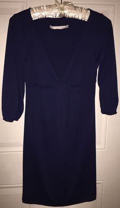 Susana Monaco Navy Stretch Sheath V Neck Dress Small #SusanaMonaco #Sheath