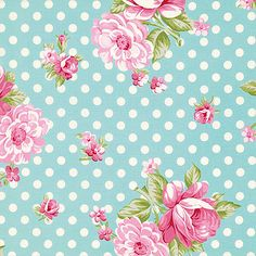 Rosey Fabric by Tanya Whelan Roses and Mums Pink Rose Roses with Polka Dots Dot on Teal Aqua Blue