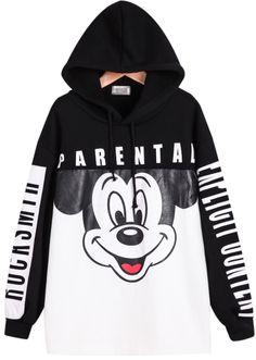 Black White Hooded Long Sleeve Mickey Print Sweatshirt 17.67
