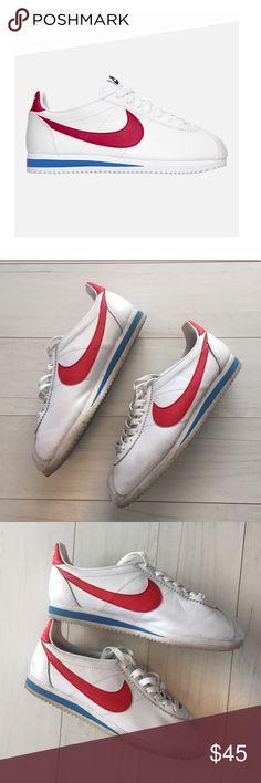 Women Nike Cortez White red blue classic Sz 9 GUC Women s Nike ID Cortez  White red c268c75a3f0