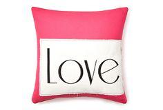 """""""Love"""" 20x20 Pillow, Pink on OneKingsLane.com"""