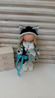 Купить Текстильная кукла. Хаски - черный, ручная работа, подарок на новый год, подарок на день рождения