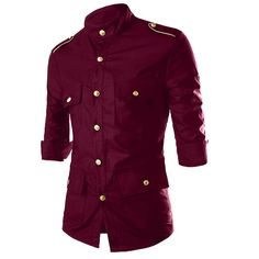 Epaulet Design Stand Collar Three-Quarter Sleeve Pockets Men's Shirt