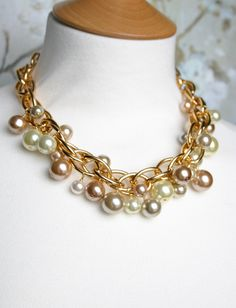 Big pearl necklace, chunky gold necklace, chunky pearl necklace, bridal party jewelry, gold bridesmaid necklace under 50 - Tia. $48.00, via Etsy.