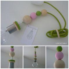 love at table Green Light Hängeleuchte Hängelampe fürs Kinderzimmer  Kid's room lamp in light green and rose