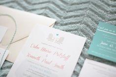 beach teal coral wedding invitation