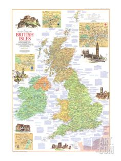 1974 Travelers Map of the British Isles Print at Art.com