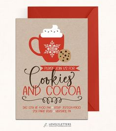 Cookies and Cocoa Invitation / DIGITAL / Cookies & Cocoa Invite / Hot Chocolate Party / Cookie Decorating Party / Cookie Exchange - Trend Girlie Christmas Party 2019 Hot Chocolate Party, Cocoa Party, Chocolate Diy, Christmas Party Invitations, Xmas Party, Diy Party, Snow Party, Party Time, Party Ideas