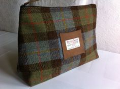 Harris Tweed mans toiletry bag shave bag wash bag gift made in Scotland on Etsy, $55.00