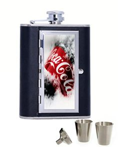 Coca Cola Custom Personalization Durable 6oz Leather Hip Flask with Cigarette Case *** Learn more by visiting the image link.