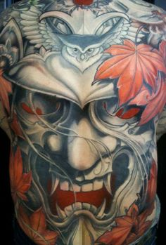 I genuinely appreciate the different shades, lines, and fine detail. This really is a good concept if you want inspiration for a Mascara Samurai Tattoo, Samurai Mask Tattoo, Hannya Mask Tattoo, Japanese Tattoo Art, Japanese Tattoo Designs, Japanese Sleeve Tattoos, Asian Tattoos, Back Tattoos, Skull Tattoos