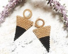 Black and gold color block post earrings, beaded earrings, seed bead earrings, nickel free, gift for her, holiday gifts, fall earrings