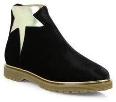 These boots could change your entire attitude for the day.  Charlotte Olympia Newton Velvet & Metallic Leather Booties