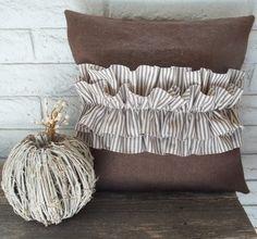 brown burlap + ticking stripe ruffle pillow