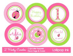 Ladybug in Pink and Green Printable Party Circles, DIY Pink and Green Ladybugs, Personalized Cupcake Toppers, Favor Tags. $10.00, via Etsy.