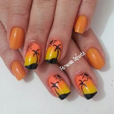 Palm Tree Nails Nice Nails, Fun Nails, Pretty Nails, Toe Nail Designs, Nail Polish Designs, Beautiful Nail Art, Beautiful Sunset, Sunset Nails, Palm Tree Nails