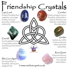 Our crystal healing poster with a selection of crystals with properties that promote, enhance and protect friendship.