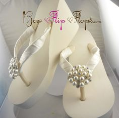 Ivory Wedge Bridal Flip Flops Rhinestone Satin by BridalFlipFlops, $43.00