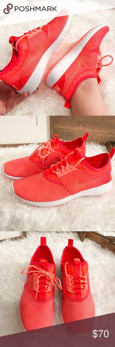Women's Nike Juvenate Bright Crimson Shoe Brand New in box (no lid on box). Women's Nike athletic shoes in bright crimson (like a neon orange). Perfect Condition. Extremely flexible and comfortable.   ➡️No Trades. ➡️No Lowball Offers. ➡️No Holds. ➡️Bundle and save! Nike Shoes Athletic Shoes