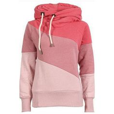 Watermelon Color Block Long Sleeve Chic Hooded Sweatshirt found on Polyvore featuring tops, hoodies, sweatshirts, sweatshirt, shirts, watermelon, color block hoodie, red top, hooded pullover and red sweatshirt