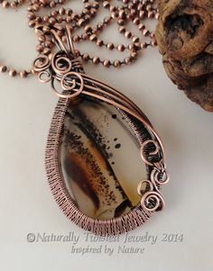 Wire Weaved Pendant Montana Agate Necklace in Antiqued Copper