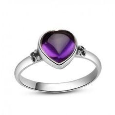 Heart-shaped amethyst gemstone silver rings - USD $61.95