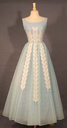 1960s Blue Chiffon Ball Gown with Ivory Appliques