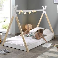 Discover recipes, home ideas, style inspiration and other ideas to try. Toddler Bed With Storage, Toddler Floor Bed, Diy Toddler Bed, Bed Rails For Toddlers, Kids Room Bed, Girl Room, Baby Bedroom, Girls Bedroom, Teepee Bed