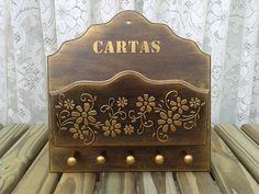 Porta Cartas e Chaves Flores Dourado