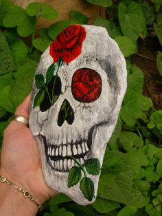 LIFE GROWS ON  beautifully painted skull and por MyGardenRocks