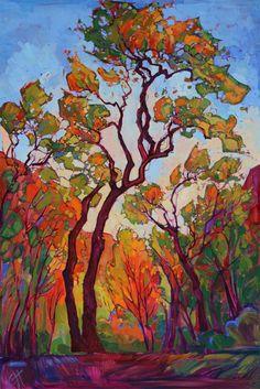 Zion cottonwoods oil painting by modern impressionst artist Erin Hanson.