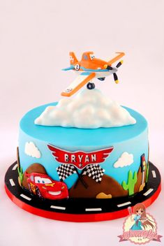 My last cake for this year :) I made this for 2 years old boy names Bryan. The mom asked for cars and planes theme. I made Dusty – Planes for the topper and if you see i changed his number 7 with 2 to mention the boy's age. The bottom i made. Dusty Cake, Disney Planes Cake, Planes Birthday Cake, Chocolate Fondant, Modeling Chocolate, Cupcake Cakes, Cupcakes, Character Cakes, Cakes For Boys