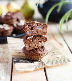 Almond Muffins, Sweet Cooking, Healthy Recipes, Cookies, Chocolate, Fruit, Breakfast, Desserts, Food