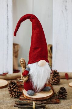 HAND CRAFTED AND ARTIST DESIGNED --- Gnome also known as a Tomte or Nisse. Each gnome is individually handmade with lots of love!He is original designed by Swedish artist. A LUCKY GNOME --- Gnome or Tomte, according to Scandinavian folklore , bearded men guard homes, farms and children, particularly at night, protecting them from misfortune.