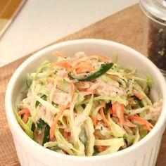 シャキシャキ!ツナ入り♪ コールスローサラダのレシピ動画・作り方 | DELISH KITCHEN Home Recipes, Asian Recipes, Appetizer Salads, Appetizers, Japanese House, Aesthetic Food, Cabbage, Recipies, Food And Drink