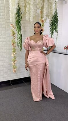 Nigerian Lace Styles Dress, Lace Gown Styles, African Lace Dresses, Latest African Fashion Dresses, African Print Fashion, Asian Fashion, Mermaid Wedding Dress With Sleeves, Dinner Gowns, Dress Outfits