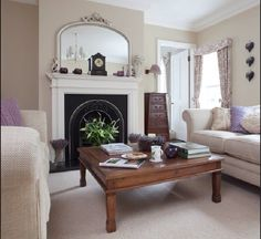Cast iron fireplace and neutral decor