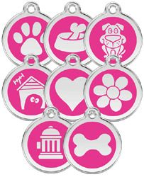All standard designs of Red Dingo stainless steel dog tags are now available in hot pink.