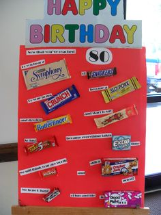 80th birthday poster using candy bars Happy Birthday Posters, Birthday Quotes, Candy Bar Posters, 60th Birthday Party, 80 Birthday Gift Ideas, Happy 80th Birthday, Candy Bars, Bar Gifts, Gift Cake