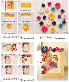 Faça Você Mesmo um porta retratos com a moldura toda decorada com flores de feltro coloridas!