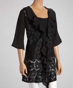 Black Lace Open Cardigan by Lady Noiz #zulily #zulilyfinds