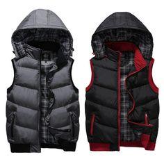 Men's Winter Hooded Zip Vest Coats Slim Warm Sleeveless Cotton Jacket Waistcoat #FactoryMade