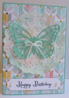 Stampin' Up! Butterfly Thinlets with 'Best Year Ever' paper from Sale-A-Bration. https://astampingjourney.wordpress.com/2015/02/03/doily-butterfly/