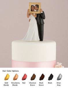 Wedding Cakes Toppers: Picture Perfect Couple Wedding Cake Topper Medium Skin Tone BUY IT NOW ONLY: $34.99