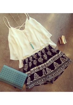 Criss-Cross Cream Tank Top, Black Patterned Flowy Shorts