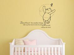 Classic Winnie the Pooh Sometimes the smallest things baby quote vinyl wall  decal. $32.00,